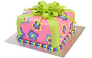 Fotos Süßware Torte Weißer hintergrund Design Schleife