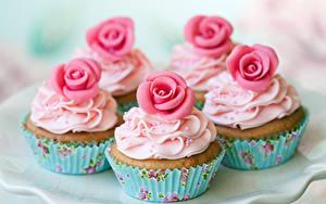 Hintergrundbilder Süßware Rosen Cupcake Design Lebensmittel