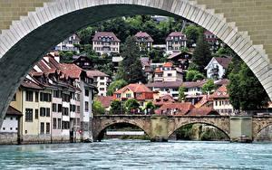 Pictures Switzerland Bern Bridge River Houses Arch river Aare Cities