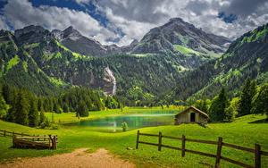 Hintergrundbilder Schweiz Bern Gebirge Grünland See Wälder Alpen Zaun Lauenen Natur