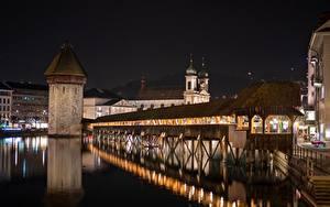 Wallpapers Switzerland Bridge Night time Tower  Cities