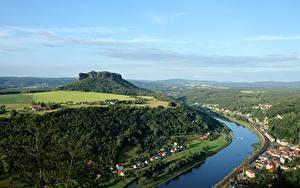 Fotos Schweiz Wald Fluss Von oben Lilienstein, Elbe, Saxon Switzerland national Park
