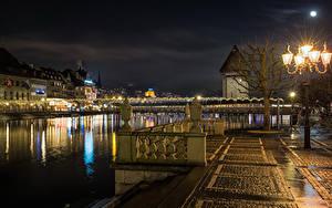 Photo Switzerland Houses Rivers Bridge Night time Street lights Lucerne Cities