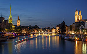 Photo Switzerland Building Rivers Bridge Marinas Sky Zurich Night Street lights Cities