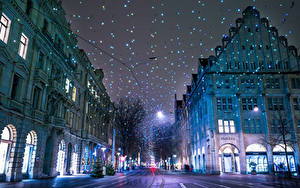 Pictures Switzerland Houses Winter New year Zurich Street Night Fairy lights Cities