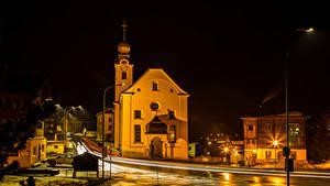 Fotos Schweiz Gebäude Tempel Wege Straße Nacht Straßenlaterne Reckingen Städte