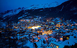 Picture Switzerland Houses Winter Mountain Alps Night Spruce Zermatt Swiss Alps Cities