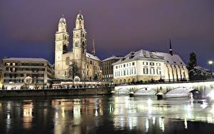 Wallpapers Switzerland Building River Bridge Zurich Night Street lights Cities
