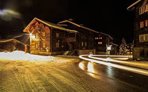 Pictures Switzerland Houses Winter Street Night time Muenster Goms Cities