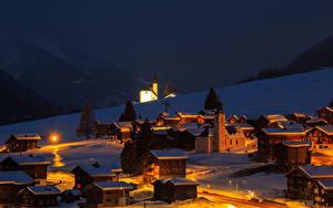 Pictures Switzerland Building Winter Snow Night Gluringen Goms Cities