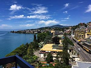 Fotos Schweiz Gebäude Küste Stadtstraße Montreux