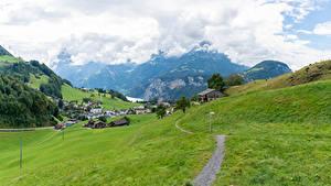 Desktop hintergrundbilder Schweiz Haus Berg Grünland Dorf Alpen Weg Ingenbohl Natur