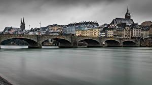 Fotos Schweiz Gebäude Fluss Brücke Basel Städte