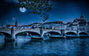 Bilder Schweiz Gebäude Fluss Brücken Nacht Mond Straßenlaterne Basel Städte