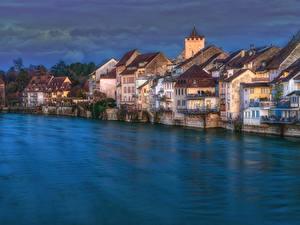 Bilder Schweiz Haus Flusse Abend HDR Rheinfelden, Aargau Städte