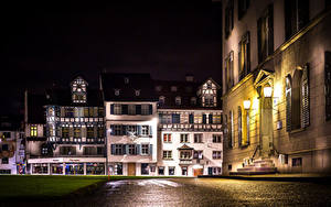 Images Switzerland Building Night Street Street lights St.Gallen Cities