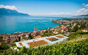 Bilder Schweiz See Küste Haus Horizont Von oben Montreux, Lake Geneva Städte
