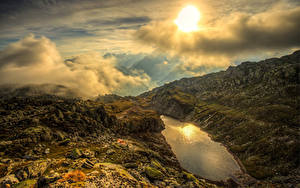 Bilder Schweiz Gebirge See Himmel Alpen Wolke Sonne Remersee Goms
