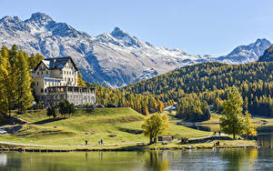 Wallpapers Switzerland Mountain Forest Houses Coast Alps Hotel