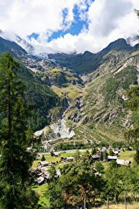 Hintergrundbilder Schweiz Gebirge Gebäude Alpen Canyon Dorf Laubmoose village Randa