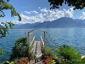 Hintergrundbilder Schweiz Gebirge See Schiffsanleger Montreux