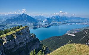 Bilder Schweiz Berg See Landschaftsfotografie Felsen Mount Niederhorn, Lake Thun