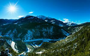 Fotos Schweiz Gebirge Himmel Wälder Landschaftsfotografie Sonne Bäume Canyon Alpen Ruinaulta