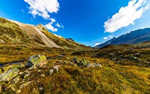 Fotos Schweiz Gebirge Himmel Steine Wolke Gras