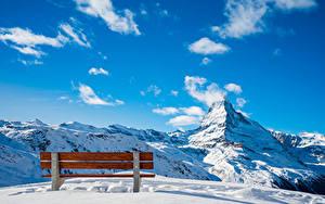Bilder Schweiz Berg Himmel Schnee Bank (Möbel) Wolke Alpen Zermatt, Near Blauherd