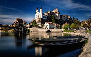 Hintergrundbilder Schweiz Fluss Burg Boot Gebäude Aarburg, Aare River