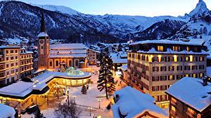 Fotos Schweiz Winter Haus Gebirge Alpen Nacht Straßenlaterne Zermatt Swiss Alps Städte