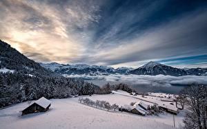 Hintergrundbilder Schweiz Winter Gebirge See Himmel Alpen Schnee Thunersee