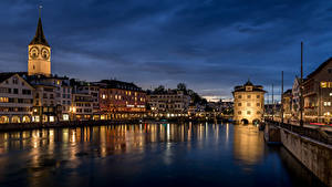 Bilder Schweiz Zürich Haus Flusse Brücke Limmat River