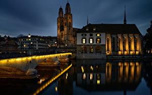 Hintergrundbilder Schweiz Zürich Haus Flusse Brücke Türme Nacht Spiegelt