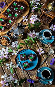 Bilder Servieren Kaffee Törtchen Bretter Tasse Getreide Ast