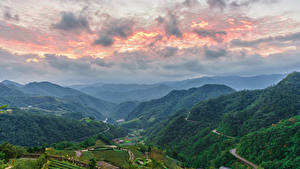 Bilder Taiwan Landschaftsfotografie Gebirge Himmel Felder Wald Taipei