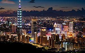 Hintergrundbilder Taiwan Taipeh Wolkenkratzer Gebäude Megalopolis Nacht Städte