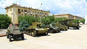Fotos Panzer Waffe Raketenwerfer Russland Wolgograd Museum Russische BA-64B, T-26, T-60, BA-20M, BM-13 Katyusha Heer