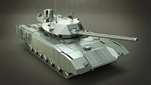 Wallpaper Tanks Gray background Russian T-14 Armata Army 3D_Graphics