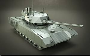 Hintergrundbilder Panzer Grauer Hintergrund Russische T-14 Armata Heer 3D-Grafik