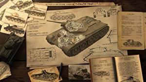 Hintergrundbilder Panzer T-34 War Thunder Seite Blatt Papier Russisches  Heer