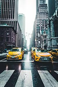 Fotos Taxi - Autos Vereinigte Staaten Wege New York City Straße NY taxi Städte Autos