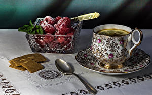 Papéis de parede Chá Baga Framboesas Açúcar de confeiteiro Chávena Colher Alimentos
