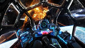 Bureaubladachtergronden Techniek Fantasy Explosie Cockpit Fantasy Ruimte