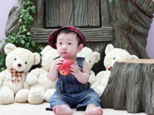 Hintergrundbilder Teddybär Äpfel Asiatische Sitzen Baseballkappe Junge kind