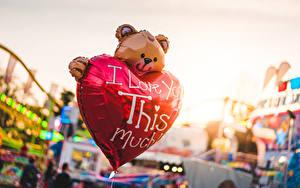 Bilder Teddy Unscharfer Hintergrund Englischer Text Herz Luftballons