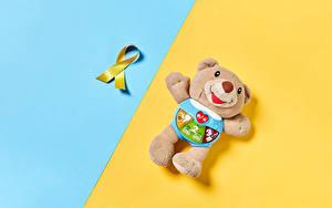 Desktop hintergrundbilder Teddybär Farbigen hintergrund Band