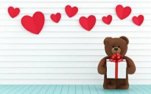 Hintergrundbilder Teddybär Valentinstag Herz Geschenke