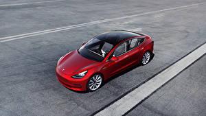 Hintergrundbilder Tesla Motors Rot Von oben  Autos 3D-Grafik