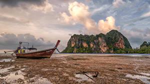Bilder Thailand Küste Boot Felsen Wolke Krabi Natur